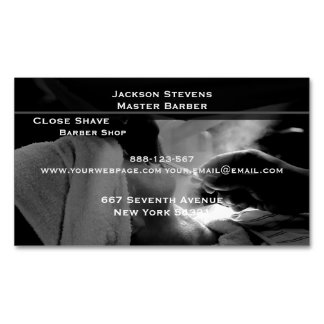 Barber Shave Straight Edge Razor Photograph Magnetic Business Cards