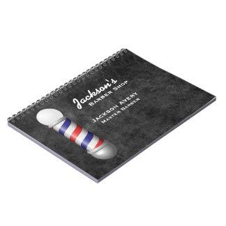 Barber Shop Barber Pole Leather Spiral Note Book