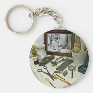 Barber Shop Basic Round Button Key Ring