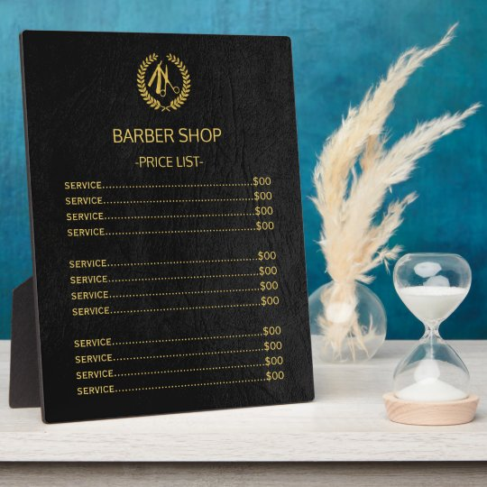 Barber shop black leather look price list plaque