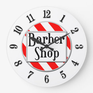 Barber Shop Black White Red Retro Clock