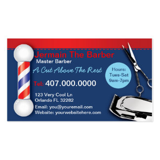 Barber Shop Business Cards (Barber pole clippers) Business Card Templates