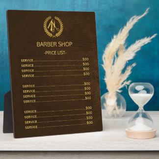 Barber shop dark brown leather look price list plaque