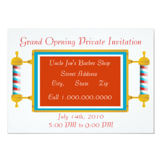 Barber Shop  Grand Opening 13 Cm X 18 Cm Invitation Card