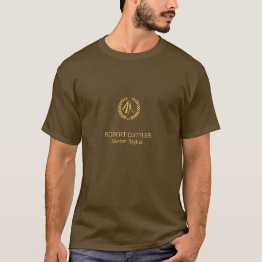 Barber shop luxury name title gold brown branded