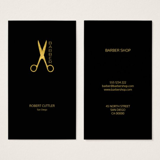 Barber shop luxury simple gold black business card