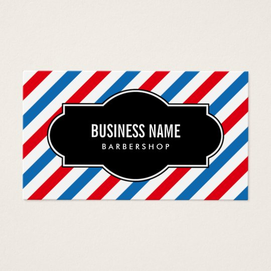 Barber Shop Professional Blue & Red Stripes Business