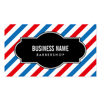 Barber Shop Professional Blue & Red Stripes Pack Of Standard Business Cards