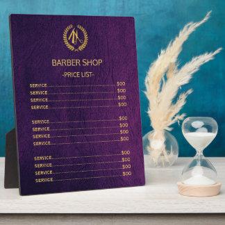 Barber shop purple leather look price list plaque