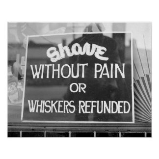 Barber Shop Sign, 1942. Vintage Photo Poster