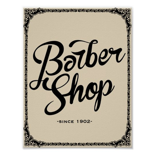 barber shop since 1902 vintage poster art print