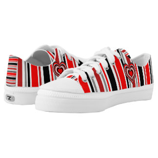 Barber shop stripes with heart red low tops