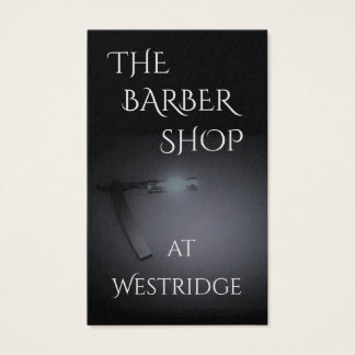 Barber Shop w/Straight Razor Image in Dark Grey Business Card