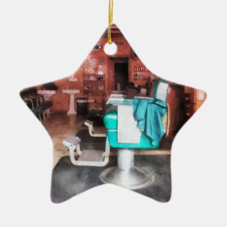 Barber Shop With Green Barber Chairs Christmas Ornament