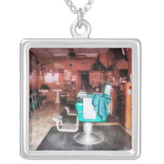 Barber Shop With Green Barber Chairs Square Pendant Necklace