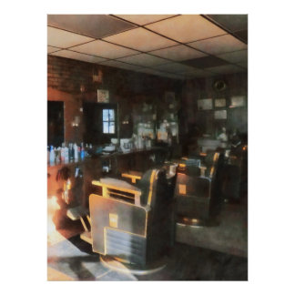 Barber Shop With Sun Streaming Through Window Print