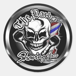 Barber Skull: Shaving Face Classic Round Sticker