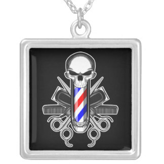 Barber Skull: Tools of the Trade Square Pendant Necklace