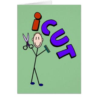 "Barber Stick person design ""icut"" Greeting Card"