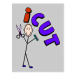 "Barber Stick person design ""icut"" Postcard"