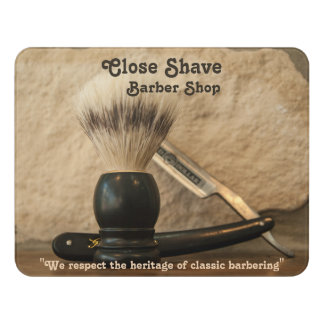 Barber Straight Edge Razor Shaving Brush Door Sign