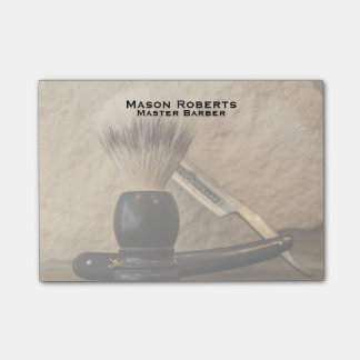 Barber Straight Edge Razor Shaving Brush Post-it Notes