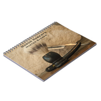Barber Straight Edge Razor Shaving Brush Spiral Notebook