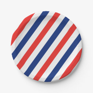 Barber Stripes 7 Inch Paper Plate