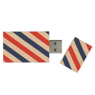 Barber Stripes Wood USB 2.0 Flash Drive