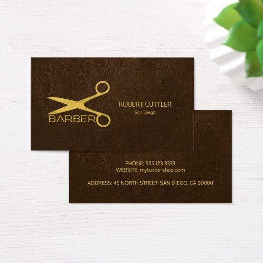 Barber stylist luxury gold dark brown leather look