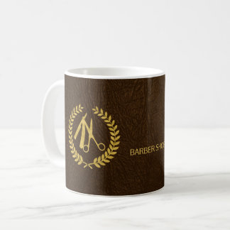 Barber stylist luxury gold dark brown leather look coffee mug
