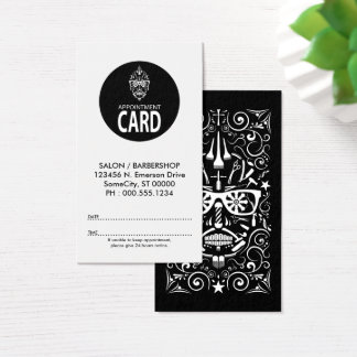 barber sugar skull appointment card