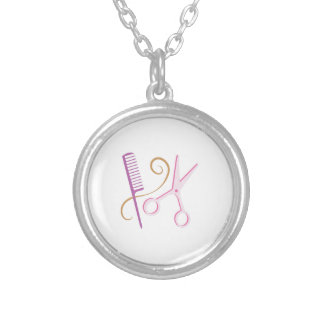 Barber Tools Round Pendant Necklace