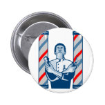 Barber With Pole Hair Clipper and Scissors Retro Pins