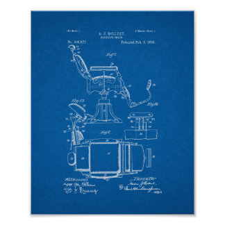 Barber's Chair Patent - Blueprint Poster