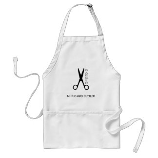 Barbers name and logo barber shop black and white standard apron