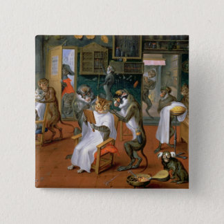 Barber's shop with Monkeys and Cats 15 Cm Square Badge