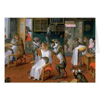 Barber's shop with Monkeys and Cats Card