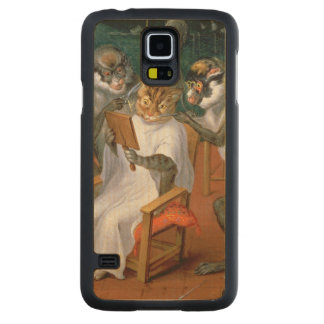 Barber's shop with Monkeys and Cats Carved Maple Galaxy S5 Case
