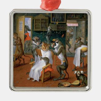 Barber's shop with Monkeys and Cats Christmas Ornament