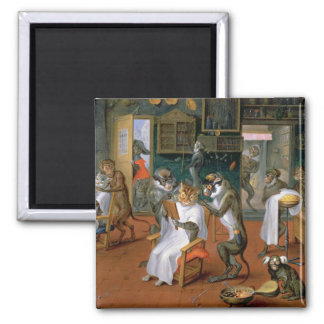 Barber's shop with Monkeys and Cats Square Magnet