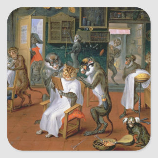Barber's shop with Monkeys and Cats Square Sticker