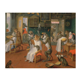 Barber's shop with Monkeys and Cats Wood Print