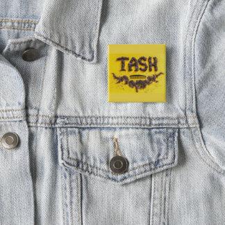 Barbers Tash symbol made from hair 15 Cm Square Badge