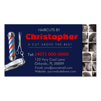 Barbershop Business Card-Barber pole, clippers com Pack Of Standard Business Cards