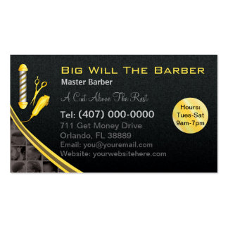 Barbershop (Customizable barber pole, clippers) Business Card Templates
