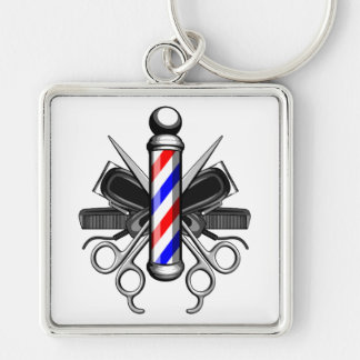 Barbershop Logo Key Ring