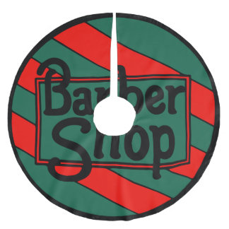 Barbershop Logo Red and Green Brushed Polyester Tree Skirt