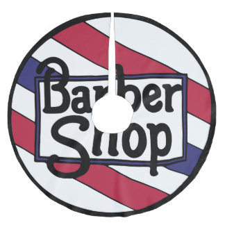 Barbershop Logo Red White and Blue Brushed Polyester Tree Skirt