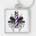 Barbershop Logo Silver-Colored Square Key Ring